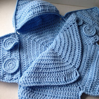Blue Baby Bunting Bag - Blue Star Bunting - Handmade Crochet - Made to Order