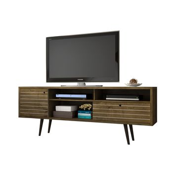 "70.86"" Mid Century - Modern TV Stand w/ 4 Shelving Spaces & 1 Drawer -Rustic Brown"