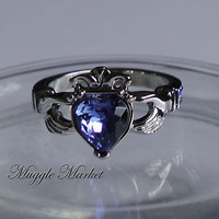 Hogwarts Ravenclaw House crown Ring Blue crystal Claddagh friendship angel Alloy