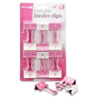 Officemate Breast Cancer Awareness Medium Easy Grip Binder Clips, Pack of 12, Pink/White (08905)