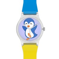 Cute Happy Dancing Blue Penguin Watch