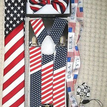 US Flag American Flag Suspenders,Lanyard,Tie &Red,White,Blue Stripes Bow Tie-v10
