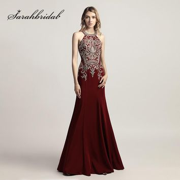 Vintage Long Crystal Evening Dresses Mermaid Halter Sleeveless Prom Gowns With Zipper Back Floor Length Satin Embroidery CC440