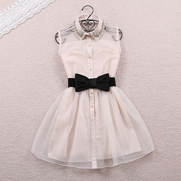 Fashion Beadings A-line Short Bowknot Belt Dress