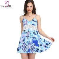 New Summer Floral Print Dress Women Sleeveless V Neck Beach Short Dresses Mini Striped Dress Femininos