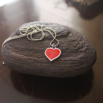 Romantic pendant Jewelry gift  Love  Heart  Pendant Handpainted Red colour necklace Heart Mother's day gift Tiny heart necklace