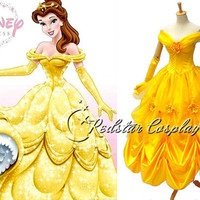 Beauty and the Beast Belle Disney Princess Evening Gown Dress Cosplay  Custom made in Any size