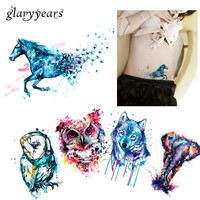 5 Pieces Hot Body Tattoos for Women Arm Sexy Waist Watercolor Animals Colored Raccoon Wolf Owl Body Art Temporary Tattoo Sticker