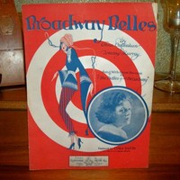Broadway Belles Antique Sheet Music Vocal Piano Cora Davis Stage Song Vintage 1923 Ansonia Music Company FREE SHIPPING