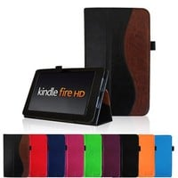 "Fintie Folio Case for Kindle Fire HD 7"" (2012 Old Model) - Slim Fit Leather Cover with Auto Sleep/Wake Feature (will only fit Amazon Kindle Fire HD 7, Previous Generation - 2nd), Dual Color"