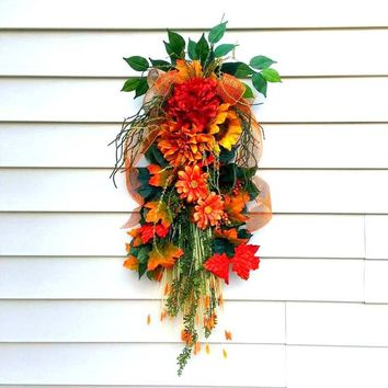 Fall wreaths for front door, teardrop swag, Fall wreath swag, rustic fall wreath, fall door swags, Autumn swags, vertical swags, fall decor