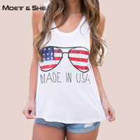 Tank Tops Summer 2016 Character Sunglasses /Glasses Letter Made In USA Flag Pattern Stars White Vest Women Clothes T65231R