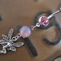 Belly Button Jewelry- Pink Fairy Faux Fire Opal Navel Ring Piercing Long Charm Bar Barbell