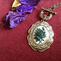 Antique bronze Rose cameo pendant necklace in olive green