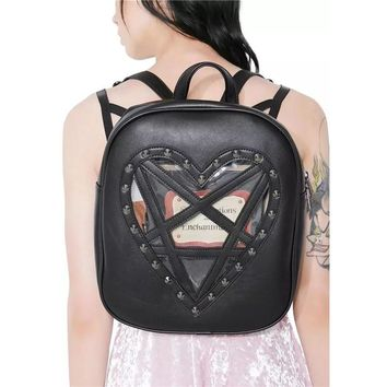 Punk Gothic Backpack Dark Black PU Leather Harajuku Rivets Shoulder Bag Transparent Heart Vintage  Women Steampunk Backpack