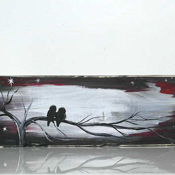 Rustic Wood Signs Reclaimed Wood Art Wood Sign Love Bird Painting Love Birds Wall Decor Wood Anniversary Red Black Wedding Gift for Couple