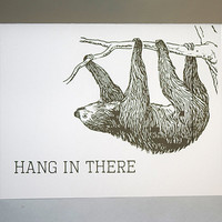 Vintage Sloth Image, Hang In There Note Card, 5.5 x 4.25 Inch, Brown, Encouragement, Cute Animals, Inspiration, You Can Do It, Brown Sloth