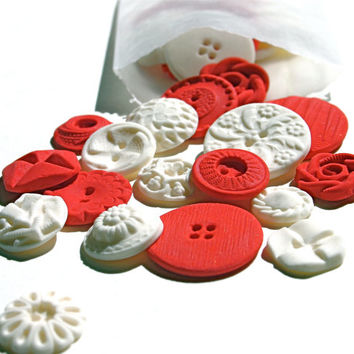 Peppermint Red and White Candy Buttons 50 ...a handmade candy