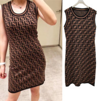 FENDI Womens Fashion Double F Letter Sleeveless Vest Dress