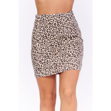 Change Makers Leopard Print Skirt (Taupe Combo)