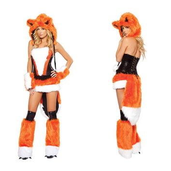 Firefox plush animal dress Halloween sexy  costume party clothes fox orangeTaiweibalang game role playing cosplay costumeKawaii Pokemon go  AT_89_9