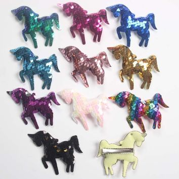 100pcs/lot Sequin Unicorns Bow With Alligator Clips Rainbow Unicorn Princess Hair Accessories Girls Hairpins Barrette