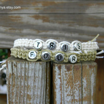 Divergent Inspired Word Bracelet, Tris, Four, Macrame Friendship Bracelet