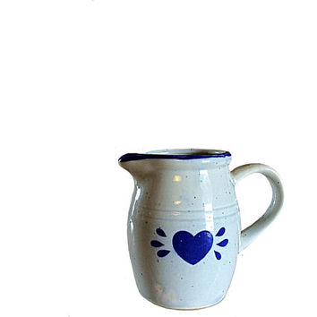 Country Creamer, Blue Creamer, Blue Heart Creamer, Vintage Ceramics, Ceramic Jug, Country Jug, Country Heart, Country Décor, Country Gift