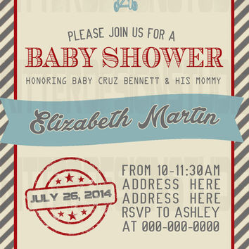 Old Vintage Airplane Baby Shower Invitation - Printable/Digital File