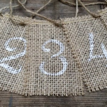 Burlap Table Numbers, Rustic Wedding Decor, Burlap Table Number Tags, Burlap Centerpieces