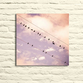 Birds on Wire photo. Nursery art. Canvas wall art. Pink. purple. clouds. dreamy photography. little girl's room decor. girly. pastel. happy