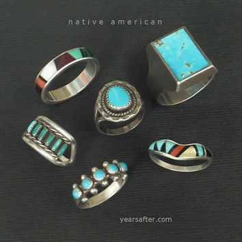 Vintage NATIVE American Indian Turquoise Ring ZUNI Petit-Point Gemstone Sterling BAND Size 6 c.1970's, Colorful Summer Rings