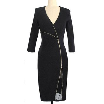 PEAPGB2 2016 New Spring Autumn Womens Celeb V Neck Business Work Office Smart Ladies Slit Sexy Pencil Dress NP-23-1365