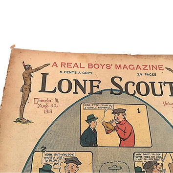 Vintage Newspaper |  Lone Scout |  The Real Boys Magazine |  August 30 1919 |  Photos by PET |  Beginning a Dandy Football Serial
