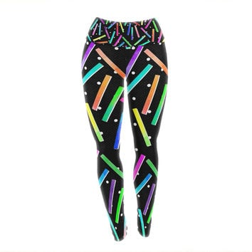 "Noonday Design ""Confetti Party"" Black Multicolor Yoga Leggings"