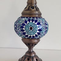 Blue Mosaic lamp with vintage look base , Bedside night lamp, Turkish lamp, Night Decorations, Bedroom Decorations, Boho Lamp,Dorm Light