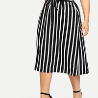 Plus Cut And Sew Mixed Print Skirt