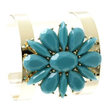 Faceted Lucite Stone Floral Cuff Bracelet 1129