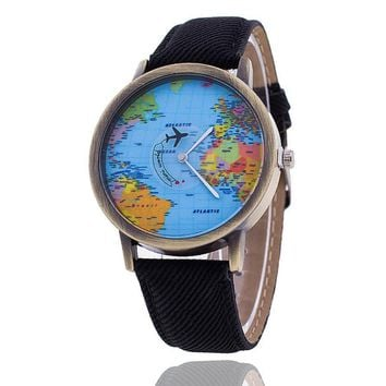 2017 New Women Watches Global Travel World Map PU Leather Fashion Leather Quartz Watches Clock For Ladies Montre Femme