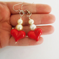 Once Upon A time Fairytale Alice In Wonderland Red Queen of Hearts dangle Earrings
