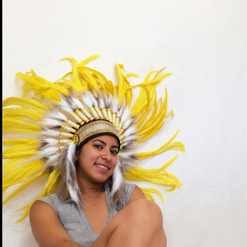 Yellow headdress burning man/ EDC / Coachella / rave outfit / head piece