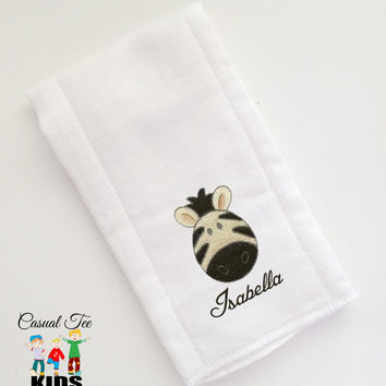 Baby Burp Cloth Embroidered with Zebra and Baby's Name Personalized Spit Up Cloth Custom Burp Cloth