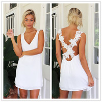 2015 Hot New Sexy Women Celeb V Neck Backless Lace Crochet Chiffon Summer Beach Mini Dress