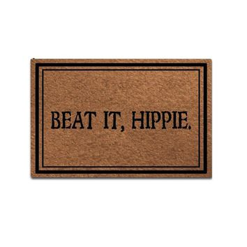 Autumn Fall welcome door mat doormat  Entrance Mat Funny  Home Office Decorative  Indoor/Outdoor Rubber Mat, Beat It, Hippie Designed AT_76_7