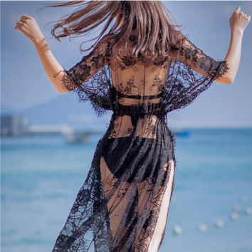 Sexy Women Cover-Ups Summer Blouses Black White Lace Cardigans Hollow Out Women Summer Long Beach Cover Ups