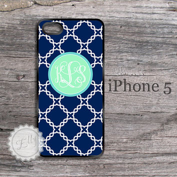 Navy Blue and Mint iPhone 5 / 5S Personalized by ColorsAndFriends