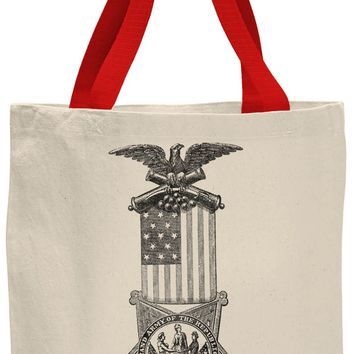 Austin Ink Apparel American Flag Medal Contrast Cotton Canvas Tote Bag