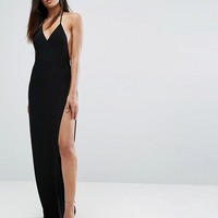 Club L Slinky Wrap Front Maxi Dress at asos.com