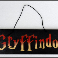 Gryffindor Sign, Harry Potter Gryffindor Sign, Gryffindor Door Sign, Geek Art, Fan Art, Gryffindor, Wood Sign