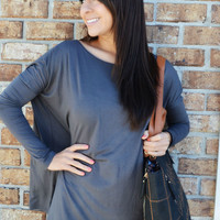 She Keeps It Simple Top: Gray   Hope's